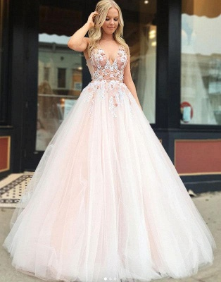 Beautiful Fitted Straps V-Neck Sleeveless Beading Appliques Floor-Length Exclusive Prom Dresses UK | New Styles_3