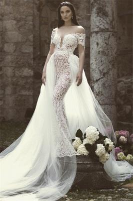Glamorous Mermaid Off-the-Shoulder V-Neck Appliques Tulle Wedding Dresses | Bridal Gowns Online_1