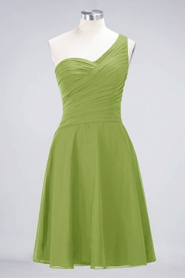 A-line Chiffon One-Shoulder Sweetheart Summer Knee-Length Bridesmaid Dress UK with Ruffles_32