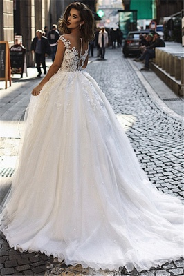 Glamorous Ball Gown Tulle Cap-Sleeves V-Neck Appliques Wedding Dresses | Bridal Gowns On Sale_3