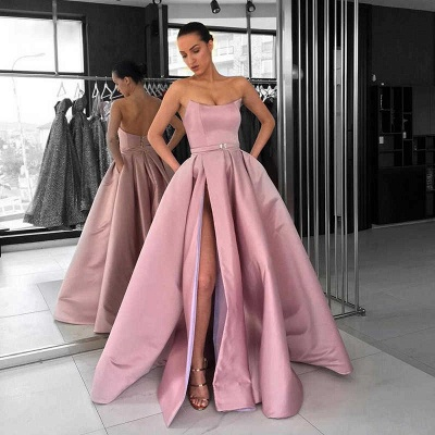 New Arrival Sleeveless Strapless Front Split Fitted Zipper Floor-Length Exclusive Prom Dresses UK | New Styles_3