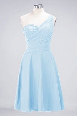 A-line Chiffon One-Shoulder Sweetheart Summer Knee-Length Bridesmaid Dress UK with Ruffles_22
