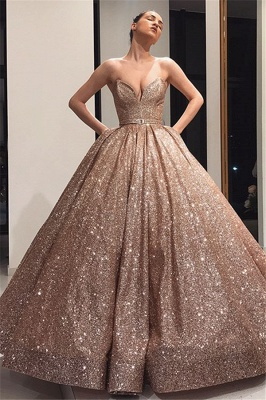 Charming Strapless Summer Ball Gown Sweep Train Prom Dress UKes UK_1