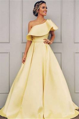 Elegant One Shoulder Fitted Sweep Train Exclusive Prom Dresses UK | New Styles_1