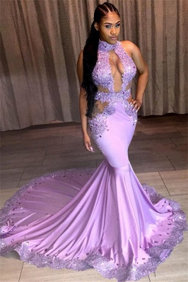 Beautiful Halter Sleeveless Mermaid Prom Dresses Sequins Evening Gowns With Lace Appliques_1