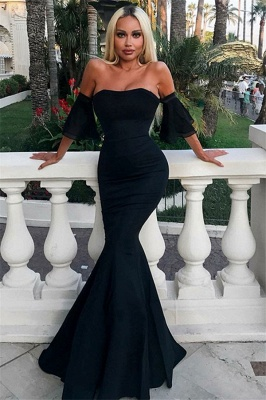 Beautiful Off-the-Shoulder Short Sleeves Prom Dress Mermaid Long Formal Wears On Sale_1