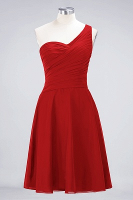 A-line Chiffon One-Shoulder Sweetheart Summer Knee-Length Bridesmaid Dress UK with Ruffles_8