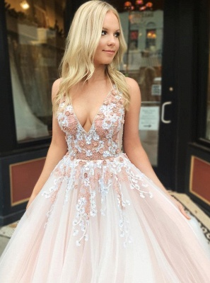Beautiful Fitted Straps V-Neck Sleeveless Beading Appliques Floor-Length Exclusive Prom Dresses UK | New Styles_4