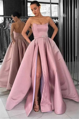 New Arrival Sleeveless Strapless Front Split Fitted Zipper Floor-Length Exclusive Prom Dresses UK | New Styles_1