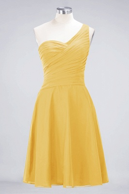 A-line Chiffon One-Shoulder Sweetheart Summer Knee-Length Bridesmaid Dress UK with Ruffles_16