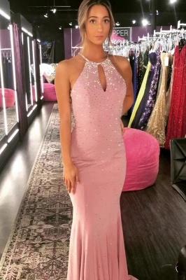 Elegant Mermaid Halter Long Exclusive Prom Dresses UK with Rinestone | New Styles_5