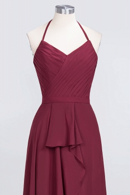 Amazing Chiffon Halter V-Neck Bridesmaid Dresses Sleeveless With Ruffles_4