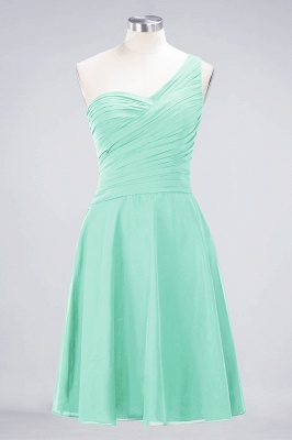 A-line Chiffon One-Shoulder Sweetheart Summer Knee-Length Bridesmaid Dress UK with Ruffles_34