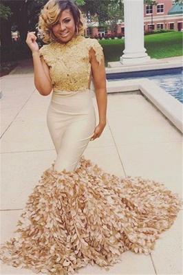 Glamour Round Neck Appliques Short Sleeves Mermaid Fit and Flare Floor-Length Prom Dress UKes UK_3