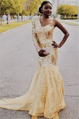 Beautiful One Shoulder Prom Dresses Sleeved Mermaid Evening Party Gowns_1