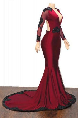 Unique Deep V-Neck Long Sleeves Appliques Mermaid Fit and Flare Floor-Length Prom Dress UKes UK_3