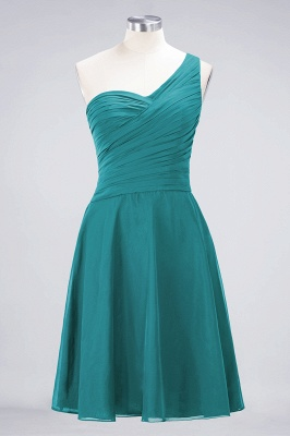 A-line Chiffon One-Shoulder Sweetheart Summer Knee-Length Bridesmaid Dress UK with Ruffles_31