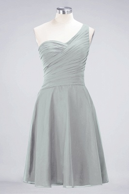 A-line Chiffon One-Shoulder Sweetheart Summer Knee-Length Bridesmaid Dress UK with Ruffles_29