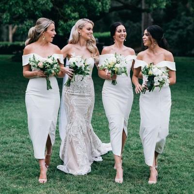 Off The Shoulder Flirty Long Bridesmaid Dresses With Split_3