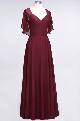 Charming V-Neck Short Sleeves Long Bridesmaid Dress On Sale_4