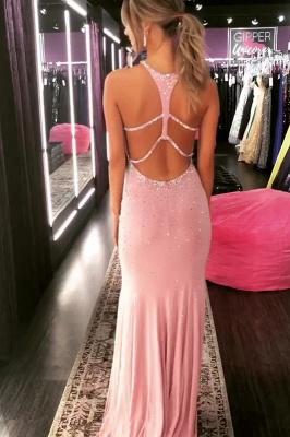 Elegant Mermaid Halter Long Exclusive Prom Dresses UK with Rinestone | New Styles_6