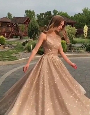 Fashion Sleeveless Shining Sequins Fitted Crew Floor-Length Exclusive Prom Dresses UK | New Styles_1