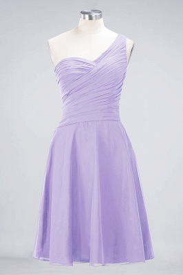 A-line Chiffon One-Shoulder Sweetheart Summer Knee-Length Bridesmaid Dress UK with Ruffles_20