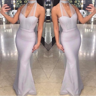 Chic Halter Sleeveless Mermaid Evening Gowns Long Prom Dresses On Sale_3