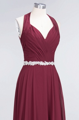 Charming Halter V-Neck Sleeveless Ruffle Bridesmaid Dress with Sashes Online_4