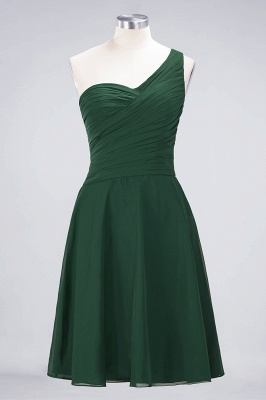 A-line Chiffon One-Shoulder Sweetheart Summer Knee-Length Bridesmaid Dress UK with Ruffles_30