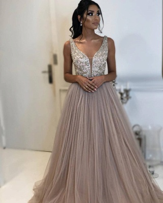 Elegant Fitted Sleeveless Applique Tulle Evening Dresses Online | New Styles_2