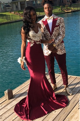 Stunning Burgundy Spaghetti Straps Prom Dress Mermaid Sleeveless Evening Gowns With Appliques_1