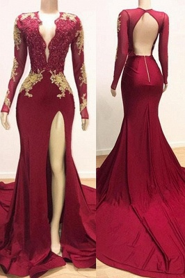 Sexy Low Cut Long Sleeves Lace Appliques Split Trumpet Evening Gowns | Suzhou UK Online Shop_1