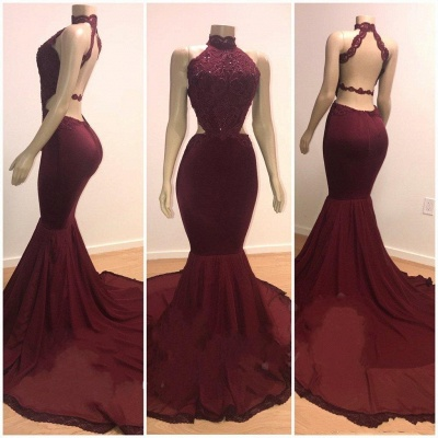 Lace Top High Neck Trumpet Long Wine Red Prom Dresses | Suzhou UK Online Shop_3