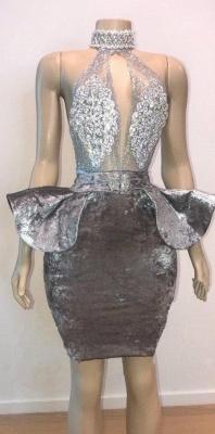 Halter Keyhole Neckline Appliqued Short Prom Dresses | Suzhou UK Online Shop_1