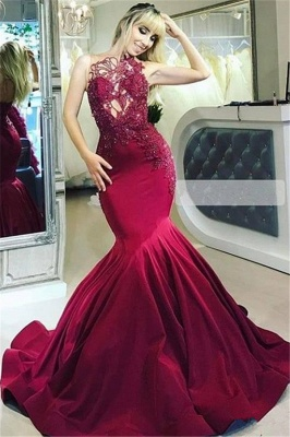 Burgundy fitted Gorgeous Sheer Straps Applique Mermaid Exclusive Prom Dresses UK   New Styles_1