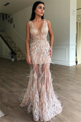 Gorgeous Fitted Sleeveless Sheer Tulle Feather Exclusive Prom Dresses UK | New Styles_1