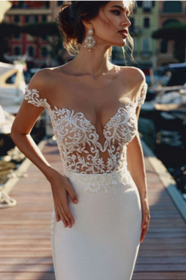 Elegant Mermaid Off-the-Shoulder V-Neck Long Wedding Dress | Bridal Gowns Online_2