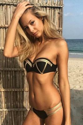 Shiny Black Bandage Bikini set with Shiny Gold Details_4