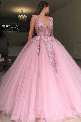 Elegant V-Neck Pink Prom Dress UK With Lace Applique Online_1