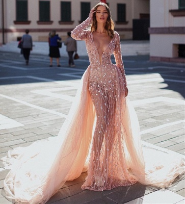 Elegant Pink Mermaid Deep V-Neck Sleeved Rinestone Exclusive Prom Dresses UK With Detachable Skirt | New Styles_3