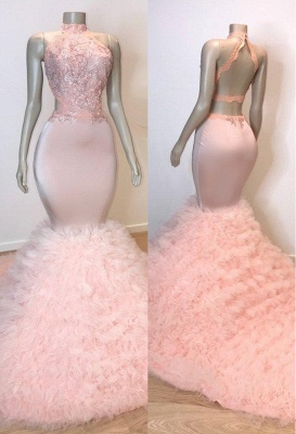 Pink Halter Summer Sleeveless Trumpet Prom Dresses | Chic Open Back Lace Quality Tulle Evening Gowns | Suzhou UK Online Shop