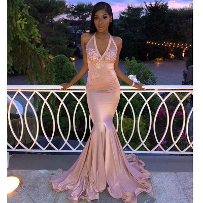 Gorgeous Pink Halter V-Neck Sleeveless Flower Appliques Exclusive Prom Dresses UK | New Styles_2