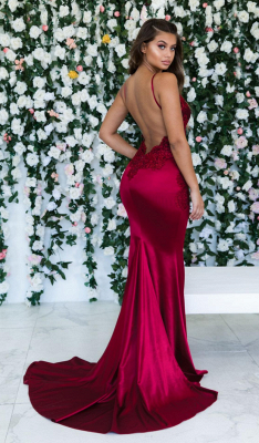 Wine Red Summer Sleeveless Trumpet Trendy Backless Prom Dresses | Cheap Spaghetti-Straps Lace Appliques Evening Gowns | Suzhou UK Online Shop_3