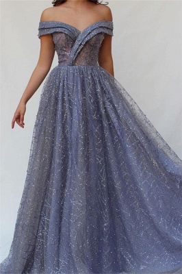 Gorgeous Fitted Off The Shoulder Tulle Beaded Exclusive Prom Dresses UK | New Styles_1