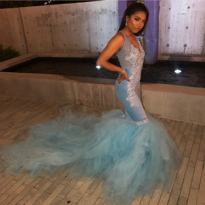 Mermaid Sheer Straps Applique Tulle Flirty Exclusive Prom Dresses UK   New Styles_2