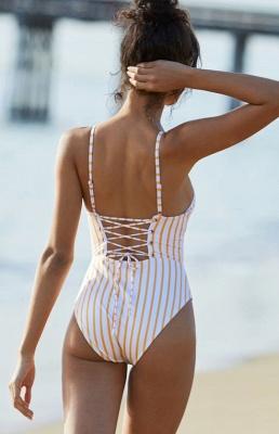 Elegent One piece Bandage Swimsuits with Stripe_4