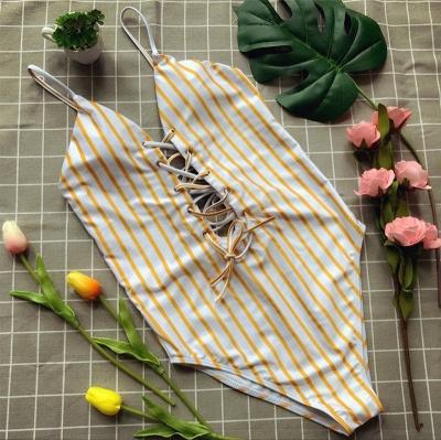 Elegent One piece Bandage Swimsuits with Stripe_1