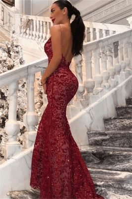 New Arrival V-Neck Lace Open Back Mermaid Exclusive Prom Dresses UK | New Styles_3