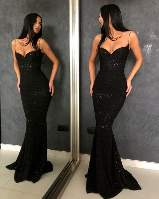 Unique Black Spaghetti Straps Prom Dress Open Back Sequins UK Formal Wears_3